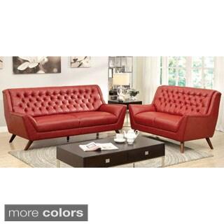 Furniture of America Valentino 2-Piece Mid-Century Modern Bonded Leather Sofa Set