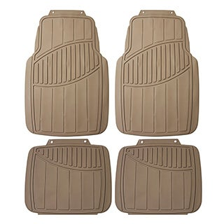 FH Group Beige Heavy Duty 4-piece Rubber Car Floor Mat