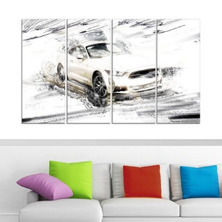 Super Charged White Muscle Car' 4-piece Gallery-wrapped Canvas