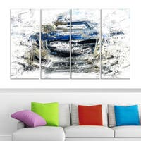 Abstract Muscle Car' 4-piece Gallery-wrapped Canvas
