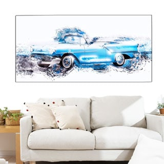 Baby Blue Vintage Car' 4-piece Gallery-wrapped Canvas