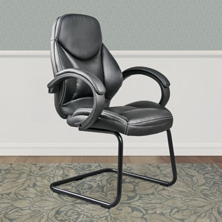 CorLiving WHL-400-C Black Bonded Leather Office Guest Chair