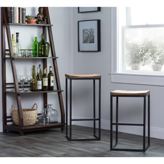 Davie Wood and Iron 24-inch Backless Counter Stool  by Kosas Home