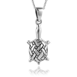 Journee Collection Sterling Silver Celtic Turtle Pendant