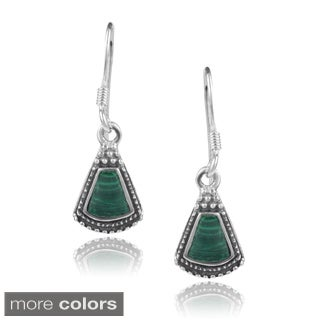 Journee Collection Sterling Silver Pear-cut Gemstone Dangle Earrings