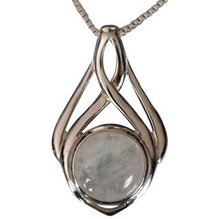 Handmade Sterling Silver Celtic Design Round Moonstone Necklace (Thailand)