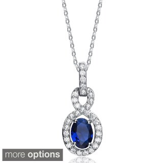 Collette Z Sterling Silver Blue Cubic Zirconia Oval Necklace