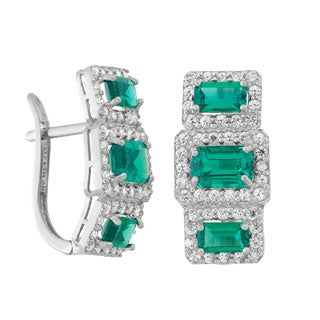 Sterling Silver 2 9/10ct TGW Emerald and Created White Sapphire Earrings