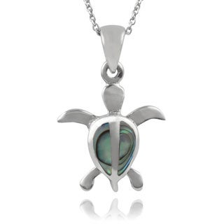 Journee Collection Sterling Silver Paua Shell Turtle Pendant