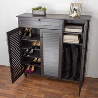 Havenside Home Atlantic Espresso Wood Shoe Storage Cabinet