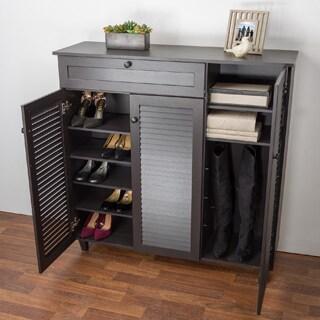Havenside Home Atlantic Espresso Wood Shoe Storage Cabinet