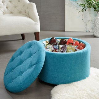 Madison Park Naomi Round Ottoman with Shoe Holder Insert--2 Color Options