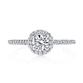 14k White Gold 5/8ct TDW Round Halo Diamond Engagement Ring