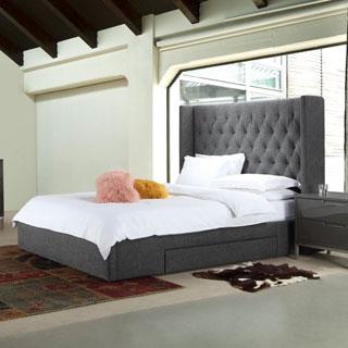 Aurelle Home Daphne Dark Grey Upholstered Stoarge Bed