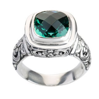 Handmade Sterling Silver Cut-work Detailed Faceted Green Quartz Bali Ring ( Indonesia) (Indonesia)