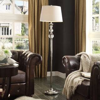 quinn satin nickel crystal 1 light accent floor lamp by inspire q