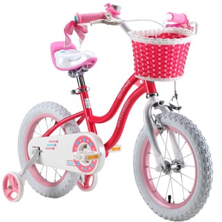 Royalbaby Stargirl Girl's Bike with Training Wheels and Basket, Perfect Gift for Kids. 14 Inch Wheels, Blue or Pink