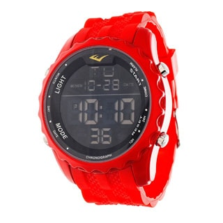 Everlast Jumbo Men's Digital Sport LED Red Silicone Strap Watch