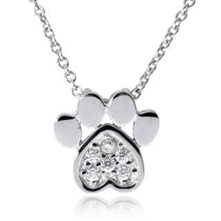 Journee Collection Sterling Silver Cubic Zirconia Paw Print Pendant
