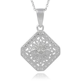 Journee Collection Sterling Silver Diamond Accent Square Necklace