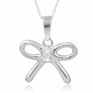 Journee Collection Sterling Silver Diamond Accent Bow Necklace