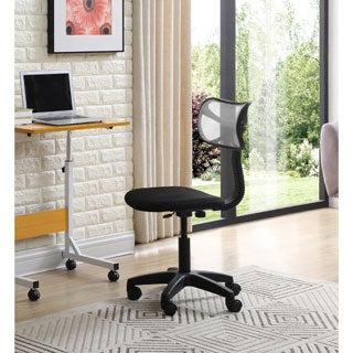 Armless Black Task Chair with Mesh Back