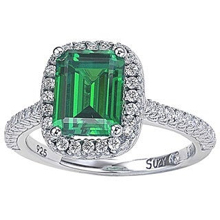 Suzy Levian Sterling Silver Asscher-cut Green Cubic Zirconia Halo Ring