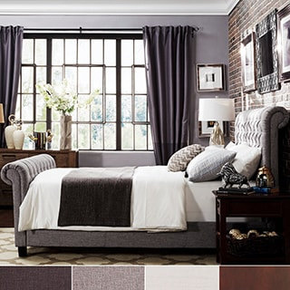 SIGNAL HILLS Knightsbridge Rolled Top Tufted Chesterfield King Bed with Footboard