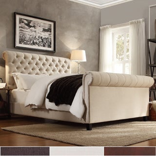 knightsbridge rolled top tufted chesterfield king bed with footboard by signal hills