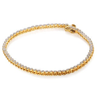 Annello by Kobelli Yellow Goldplated Silver 1/2ct TDW Diamond Bracelet (H-I, I1-I2)