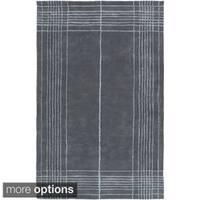 Hand-Tufted Harvey Border Wool Area Rug (5' x 8') - 5' x 8'