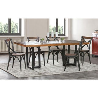 Kosas Home Kinda Distressed Brown and Black Reclaimed Wood Dining Table