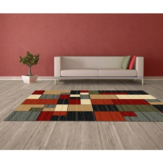 LYKE Home Audrey Red/ Multi Area Rug (5' x 8')