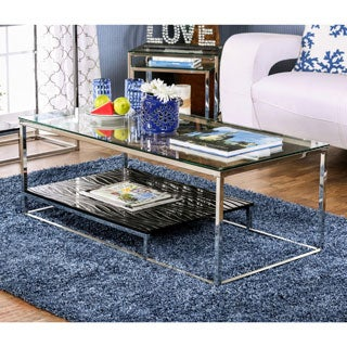 Furniture of America Deitie Modern Chrome Coffee Table