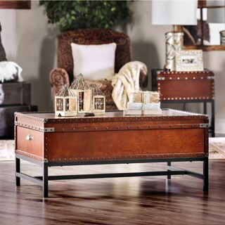 Furniture of America Dravens Industrial Trunk Style Coffee Table