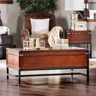 Merveilleux Furniture Of America Dravens Industrial Trunk Style Coffee Table (Option:  Cherry)