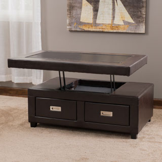 Stafford Bonded Leather Adjustable Lift Top Table by Christopher Knight Home