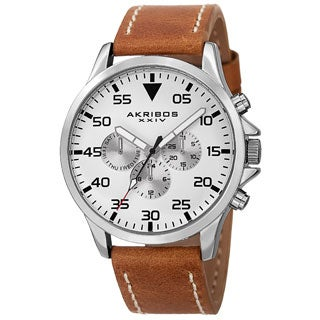 Akribos XXIV Men's Swiss Quartz Multifunction Dual Time Leather Silver-Tone Strap Watch with FREE GIFT