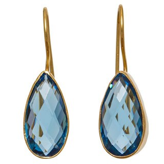 Handmade Sitara Collections Goldplated Blue Hydro Glass Tear-drop Dangle Earrings (India)