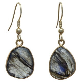 Sitara Collections Handmade Goldplated Labradorite Gemstone Dangle Earrings (India)