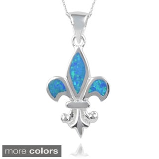 Journee Collection Sterling Silver Opal Handcrafted Fleur-de-lis Pendant