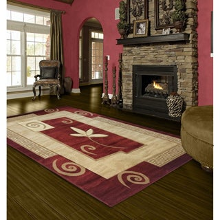 LYKE Home Rosalie Red Area Rug (5'3 x 7'5)