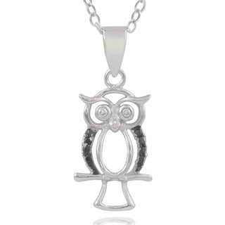 Journee Collection Sterling Silver Black Diamond Accent Owl Pendant