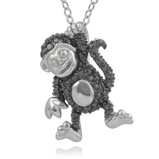 Journee Collection Sterling Silver Black Diamond Accent Monkey Pendant