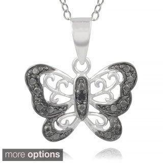 Journee Collection Sterling Silver Diamond Accent Butterfly Pendant