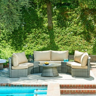 The Hom Heritage 6 Piece Grey Wicker Patio Set Free Shipping Today 17073921