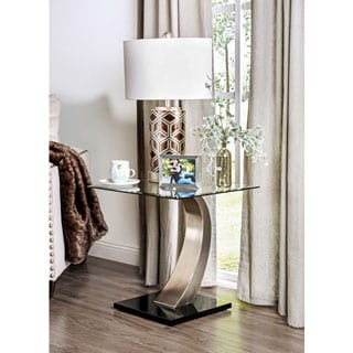 Furniture of America Carmella Modern Satin Plated End Table