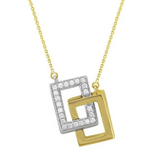 Beverly Hills Charm 10k Gold 1/4ct TDW 'Together Forever' Interwined Rectangles Diamond Necklace (H-I, I2-I3)