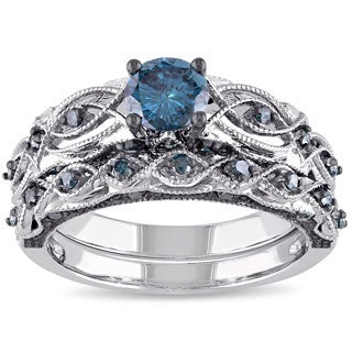 miadora signature collection 10k white gold 1ct tdw blue diamond bridal ring set - Blue Wedding Rings