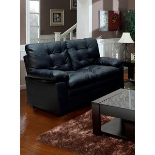 Black Tufted Faux Leather Love Seat